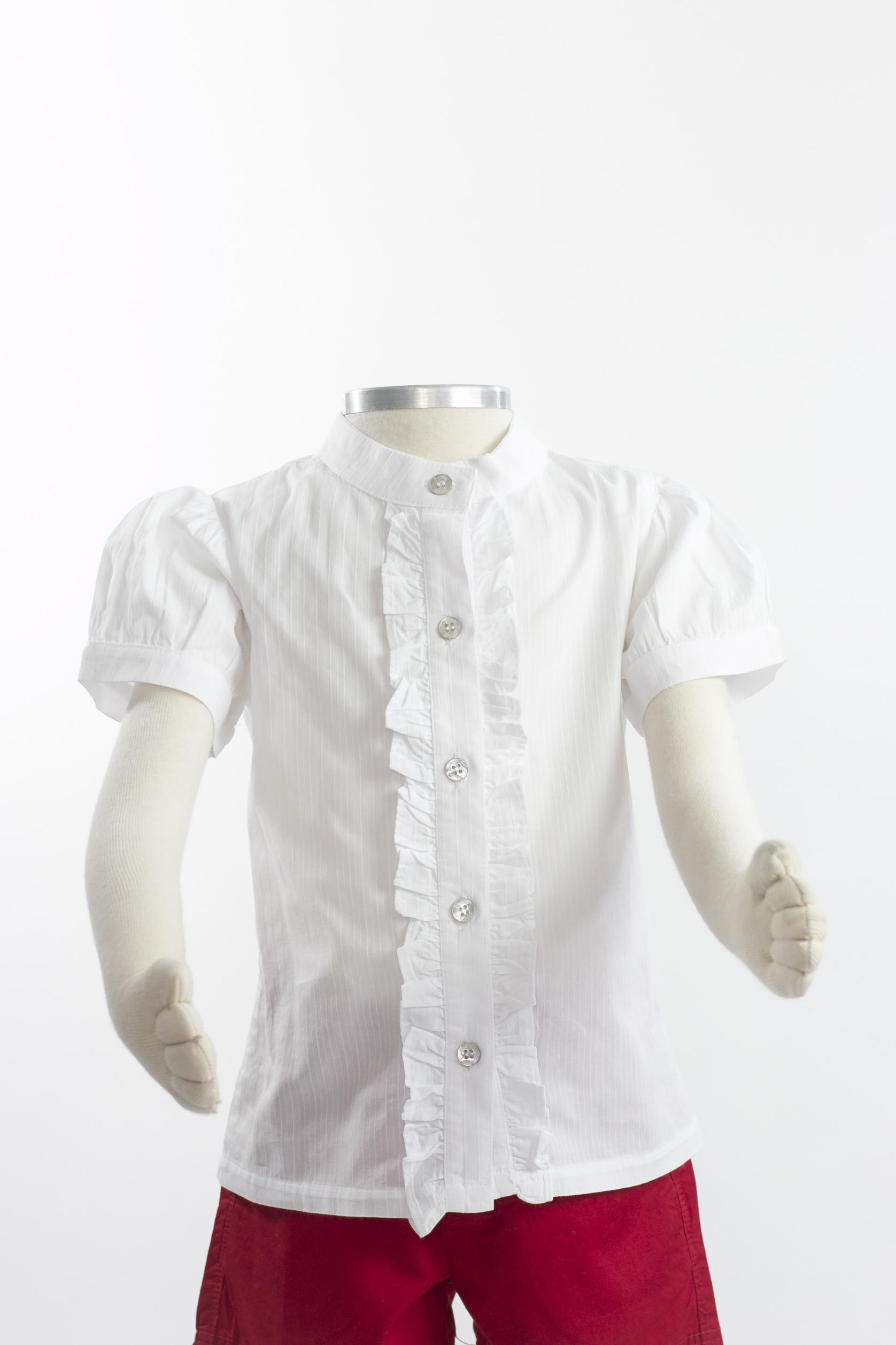 d6f9c6bea PAOLA - Camisa feminina infantil branca com babado - Brechó Agora é Meu!